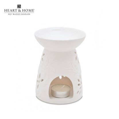 Picture of Large Wax Melt Warmer (White Floral) by Heart & Home