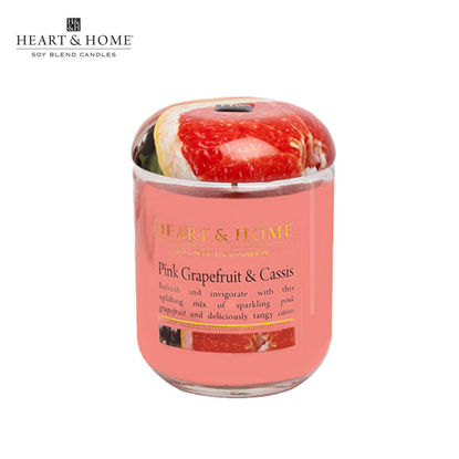 Picture of LARGE 320g (Pink Grapefruit and Cassis) Delectable Fragrance Scented Soy Candle Jar by Heart & Home