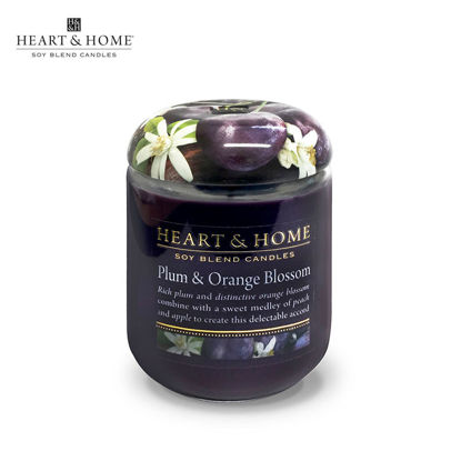 Picture of LARGE 320g (Plum and Orange Blossom) Delectable Fragrance Scented Soy Candle Jar by Heart & Home