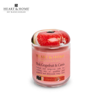 Picture of small 110g (Pink Grapefruit and Cassis) Elegant Fragrance Scented Soy Candle Jar by Heart & Home