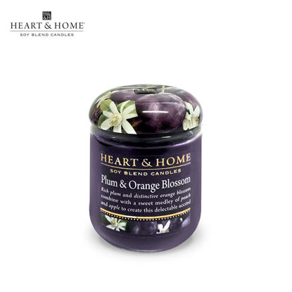 Picture of small 110g (Plum and Orange Blossom) Elegant Fragrance Scented Soy Candle Jar by Heart & Home