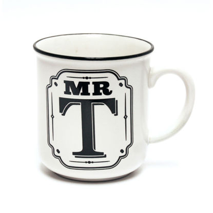 Picture of Alphabet Mug (Mr. T) Personalised Stoneware Mug Gift