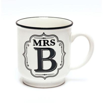 Picture of Alphabet Mug (Mrs. B) Personalised Stoneware Mug Gift