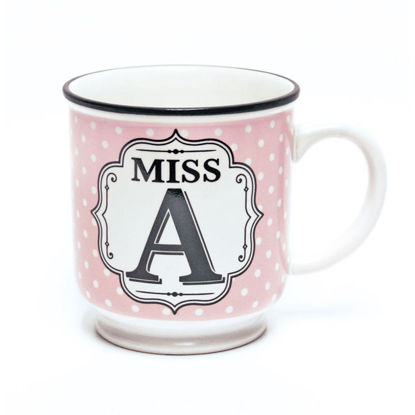 Picture of Alphabet Mug (Miss A) Personalised Stoneware Mug Gift