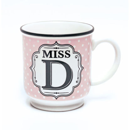 Picture of Alphabet Mug (Miss D) Personalised Stoneware Mug Gift