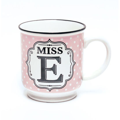 Picture of Alphabet Mug (Miss E) Personalised Stoneware Mug Gift