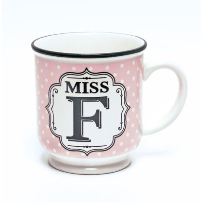 Picture of Alphabet Mug (Miss F) Personalised Stoneware Mug Gift