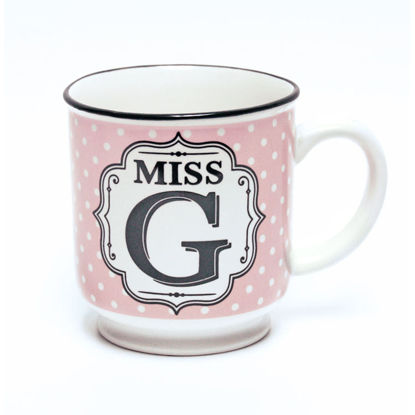 Picture of Alphabet Mug (Miss G) Personalised Stoneware Mug Gift