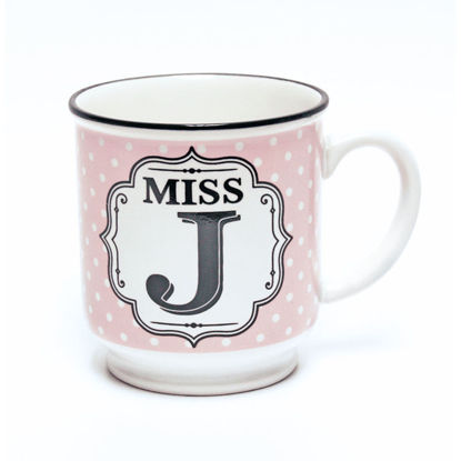 Picture of Alphabet Mug (Miss J) Personalised Stoneware Mug Gift