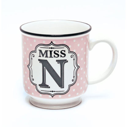 Picture of Alphabet Mug (Miss N) Personalised Stoneware Mug Gift