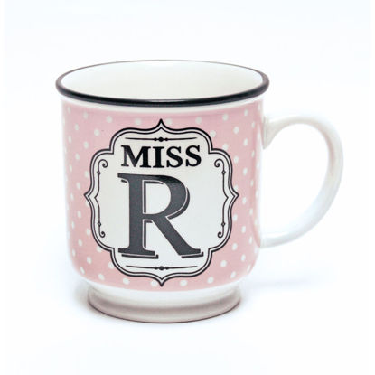 Picture of Alphabet Mug (Miss R) Personalised Stoneware Mug Gift