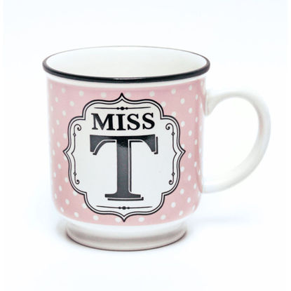 Picture of Alphabet Mug (Miss T) Personalised Stoneware Mug Gift