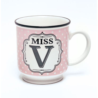 Picture of Alphabet Mug (Miss V) Personalised Stoneware Mug Gift