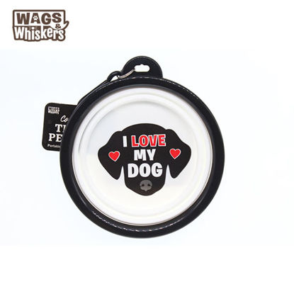 Picture of Wags & Whiskers COLLAPSIBLE Travel BOWL - I Love My Dog