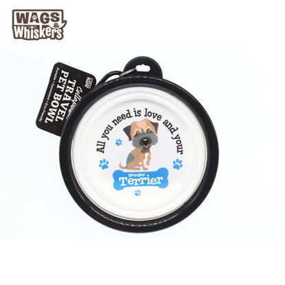 Picture of Wags & Whiskers COLLAPSIBLE Travel BOWL - Border Terrier