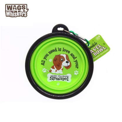 Picture of Wags & Whiskers COLLAPSIBLE Travel BOWL - Cavalier King Charles
