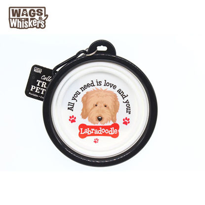 Picture of Wags & Whiskers COLLAPSIBLE Travel BOWL - Labradoodle
