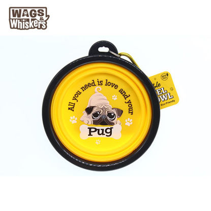 Picture of Wags & Whiskers COLLAPSIBLE Travel BOWL - Pug