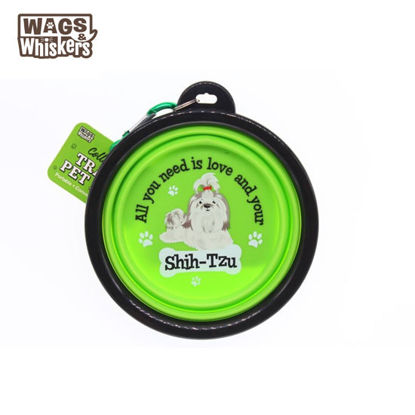 Picture of Wags & Whiskers COLLAPSIBLE Travel BOWL - Shih Tzu