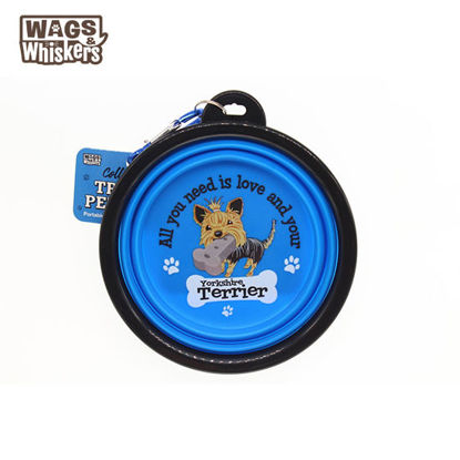 Picture of Wags & Whiskers COLLAPSIBLE Travel BOWL - Yorkshire Terrier