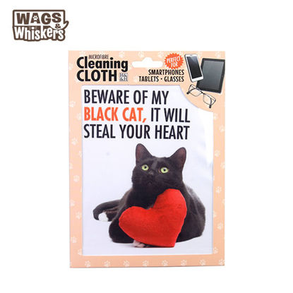 Picture of Wags & Whiskers Microfibre Cleaning Cloth (Black Cat) Reusable Washable Cloth