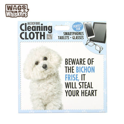 Picture of Wags & Whiskers Microfibre Cleaning Cloth (Bichon Frise) Reusable Washable Cloth