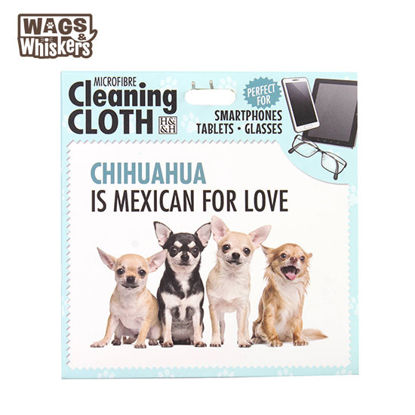 Picture of Wags & Whiskers Microfibre Cleaning Cloth (Chihuahua) Reusable Washable Cloth