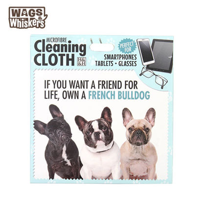 Picture of Wags & Whiskers Microfibre Cleaning Cloth (French Bulldog) Reusable Washable Cloth