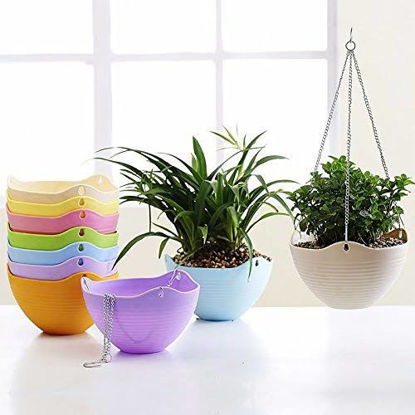 Picture of Trendy and Colorful Plastic Hanging Pots (21 cm dia x 12.5 cm ht)