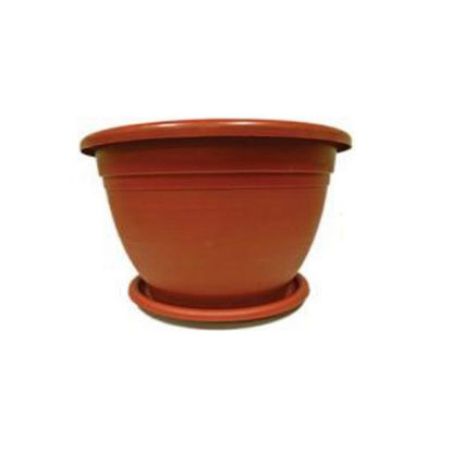 Picture of Plastic Flower Pots with Plate - Brown