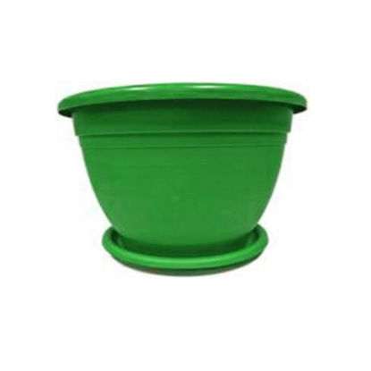 Picture of Plastic Flower Pots with Plate - Green