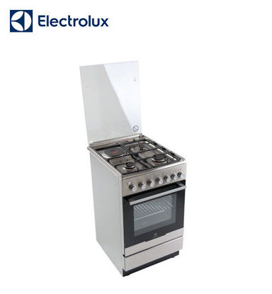Picture of Electrolux 50 cm Free Standing Cooker, 3 Gas Burners + 1 Hot Plate, 54L Electric Oven EKM51302OX
