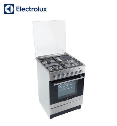 Picture of Electrolux 60 cm Free Standing Cooker, 3 Gas Burners + 1 Hot Plate, 54L Electric Oven EKM61301OX