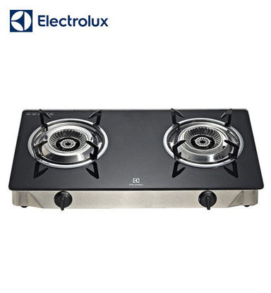 Picture of Electrolux Ebony Tempered Glass Gas Stove, 71 cm, 2 Steel-Capped Cast Burners, Double Injection