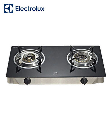 Picture of Electrolux Ebony Tempered Glass Gas Stove, 71 cm, 2 Brass-Capped Cast Burners, Double Injection ETG725GK
