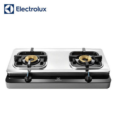 Picture of Electrolux Prima Tempered Glass Stainless Steel Stove, 71 cm, 2 Brass-Capped Cast Burners, Double Injection