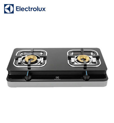 Picture of Electrolux Prima Tempered Glass Gas Stove, 71 cm, 2 Brass-Capped Cast Burners, Double Injection