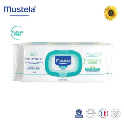 Picture of Mustela Stelatopia Replenishing Cleansing Wipes x50
