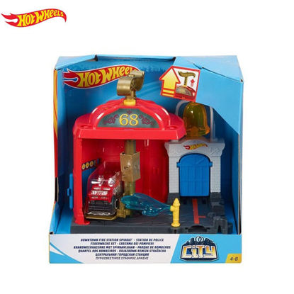 Picture of Hot Wheels City Themed Downtown Firestation Spin Out Playset