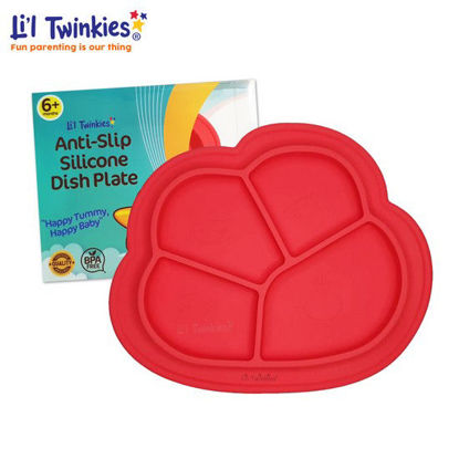 Picture of Li'l Twinkies Anti-Slip Silicone Dish Plate, Red