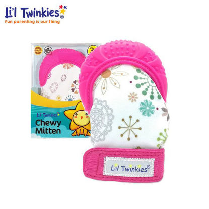 Picture of Li'l Twinkies Chewy Mitten, Floral Pink