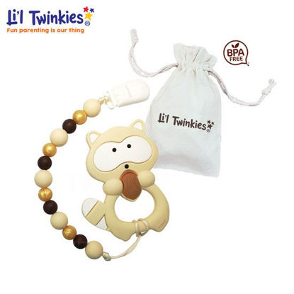 Picture of Li'l Twinkies Teether w/ Clip-on, Classic Raccoon