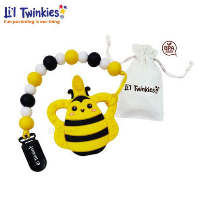 Picture of Li'l Twinkies Teether w/ Clip-on, Bee Toothbrush