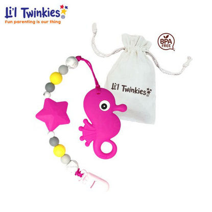 Picture of Li'l Twinkies Teether w/ Clip-on, Pink Seahorse