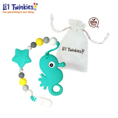 Picture of Li'l Twinkies Teether w/ Clip-on, Teal Seahorse