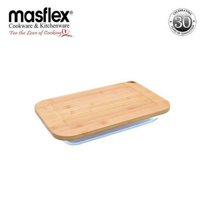 Picture of Masflex 1.6 Liters Rect Glass Bakeware W/ Bamboo Lid