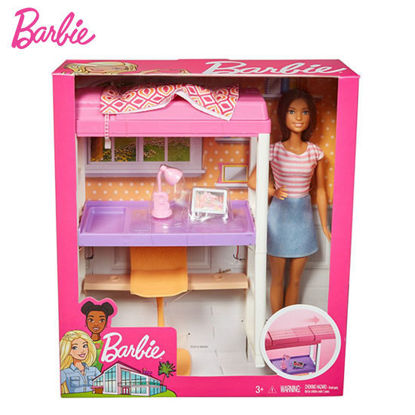 Picture of Barbie Doll and Furniture Set - Loft Bed with Transforming Bunk Bed