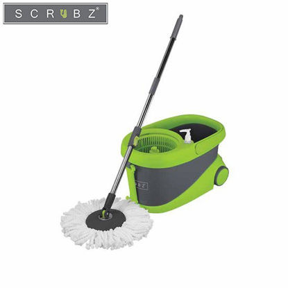 Picture of SCRUBZ Heavy Duty Cleaning Essentials Easy Grip Premium Microfiber 360ᴼ Stainless Steel Spin Mop with Bucket on Wheels, Soap Dispenser