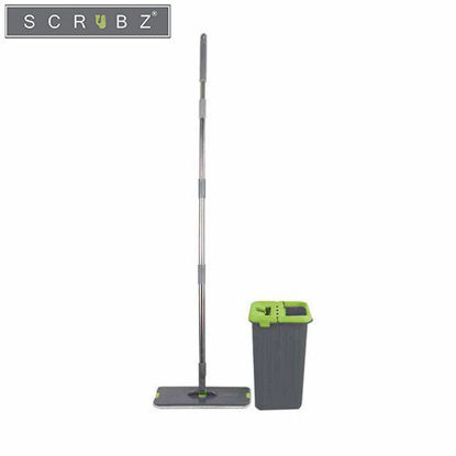 Picture of SCRUBZ Heavy Duty Cleaning Essentials Easy Grip Premium Microfiber 360ᴼ Flat Mop with Bucket