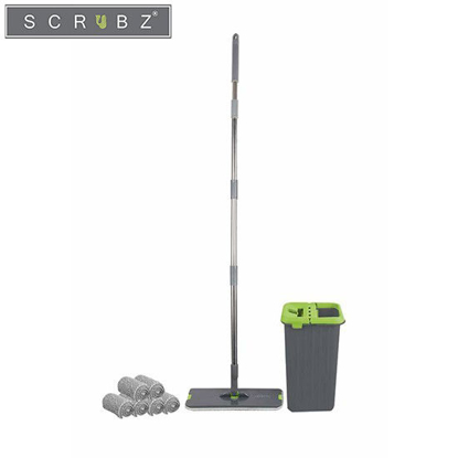 Picture of SCRUBZ Heavy Duty Cleaning Essentials Easy Grip Premium Microfiber 360ᴼ Flat Mop with Bucket and 6pc Microfiber